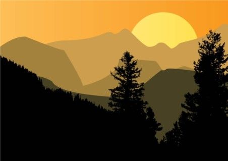 Mountain Sunset vector graphics