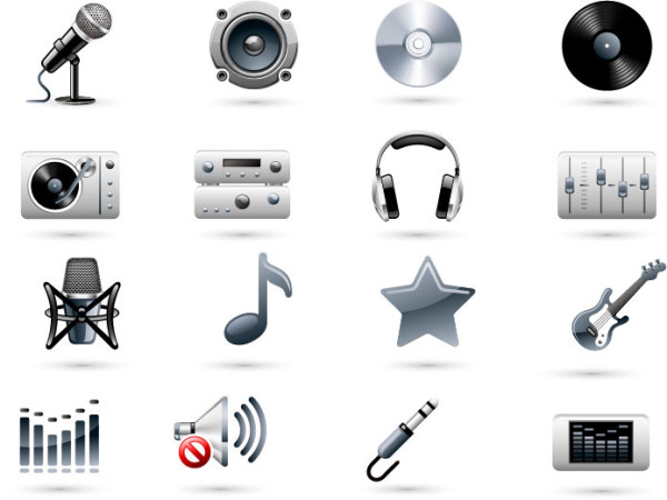 Music equipment icons vector
