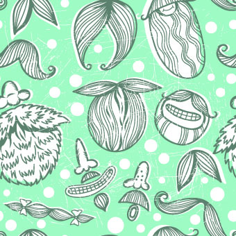 Mustache seamless blue gentle pattern vector