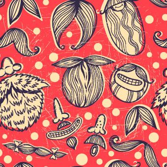 Mustache seamless orange pattern Illustration vector