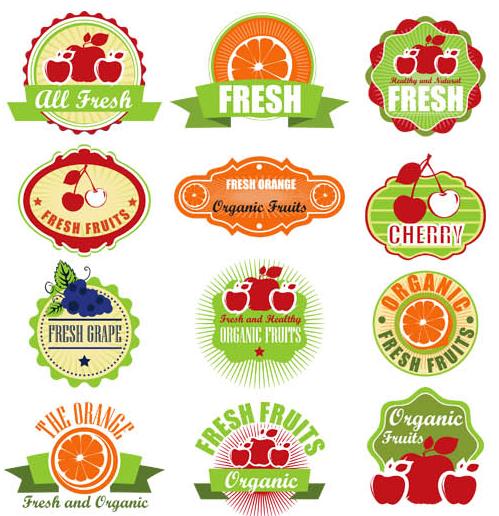 Natural Food Labels vector