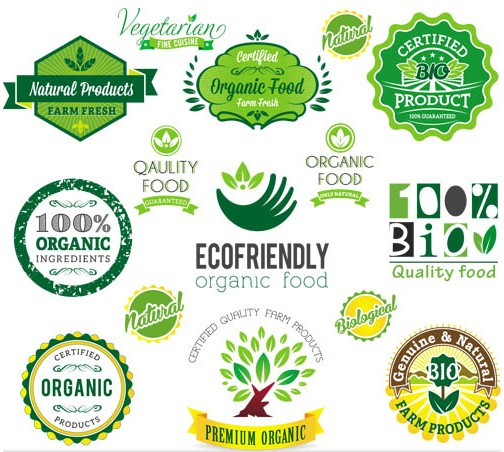 Nature Green Labels art vector material