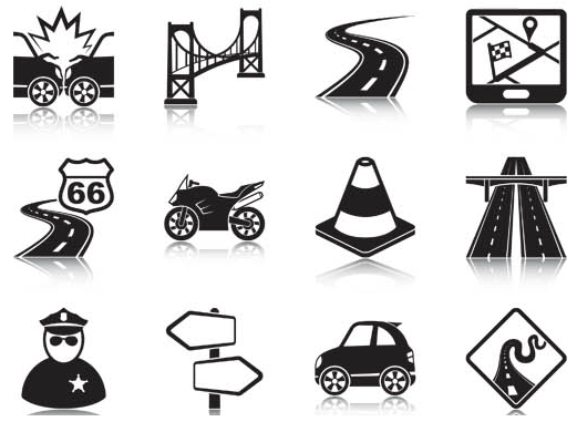 Navigation GPS Icons vector graphic
