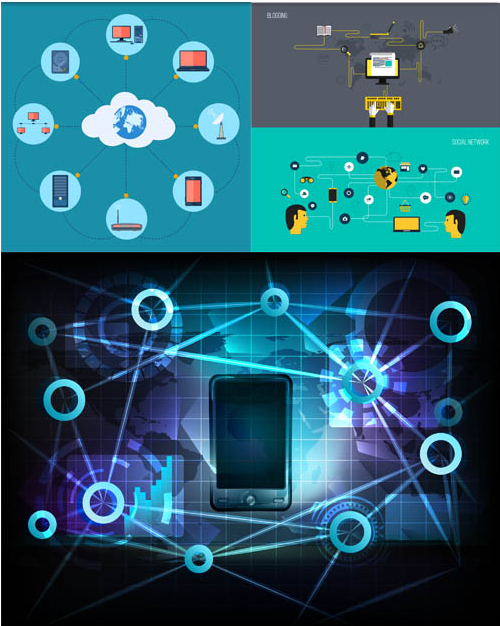 Network Backgrounds 11 design vector