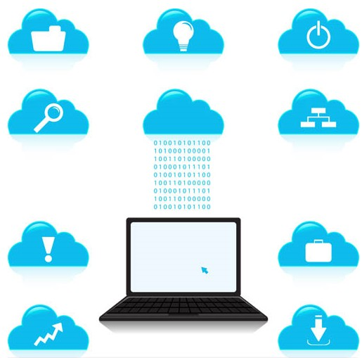 Network Clouds Icons vector graphic
