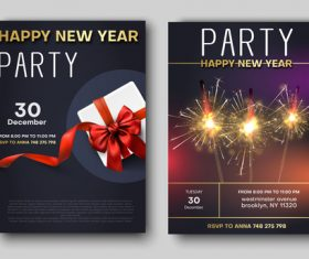 New year party night flyer template vector
