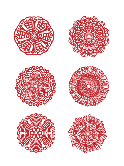 New year red paper cut window design element vecto
