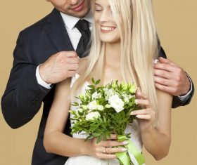 Newlyweds happy wedding photos Stock Photo