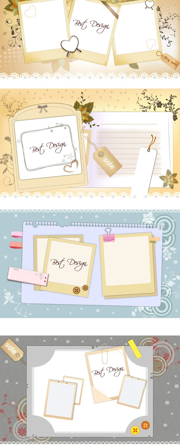 Notepad message board background vectors