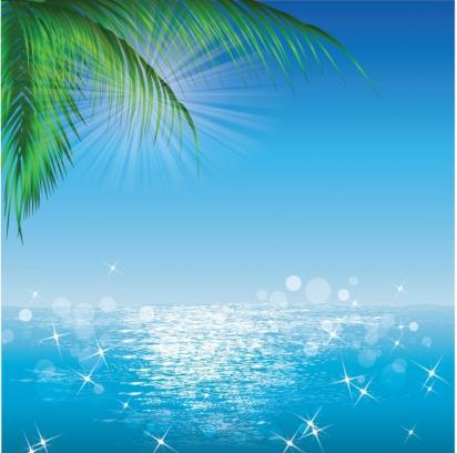 Ocean Sun Palmleaves vectors graphics