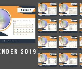 Orange with blue 2019 calendar template vector