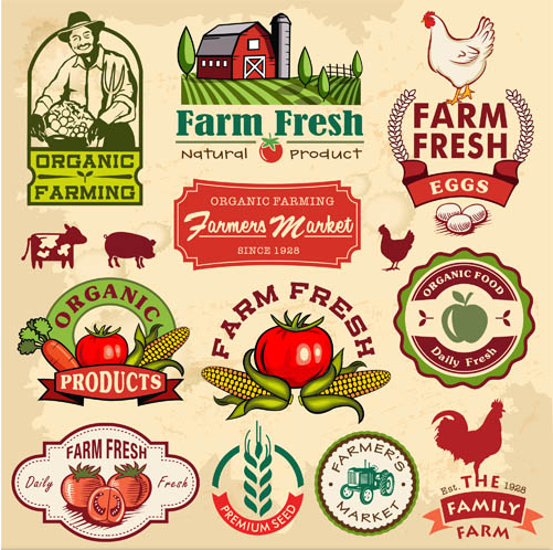 Organic Food Labels vector graphic