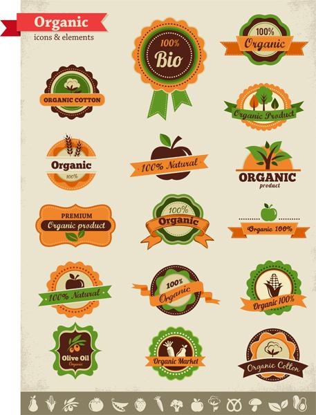 Organic food labels Illustration vector