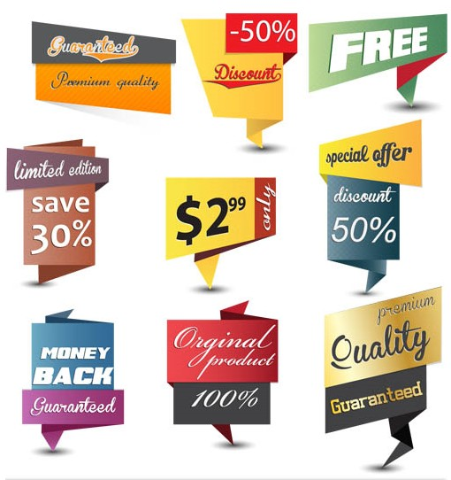 Origami Discount Stickers vector
