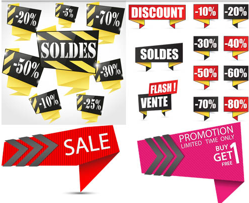 Origami Sale Elements vectors graphics