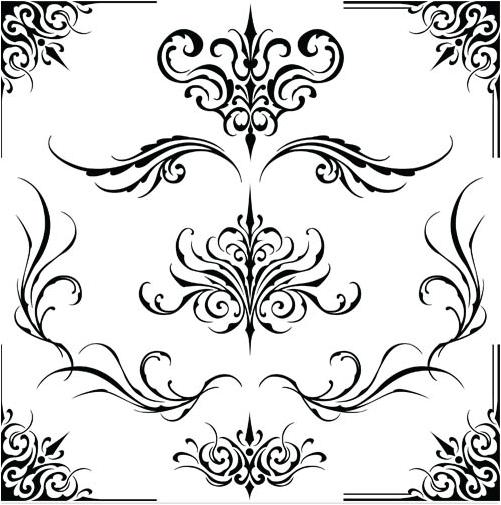 Ornament Borders Elements 15 vector set