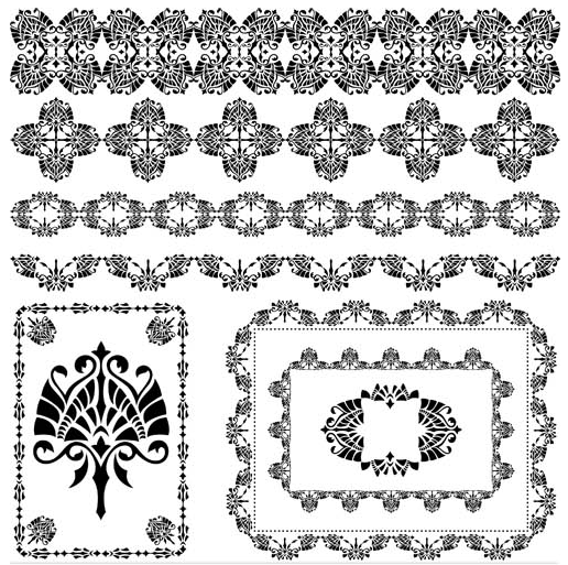 Ornamental Borders Elements Design vector graphic
