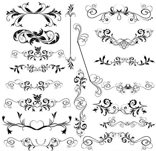 Ornamental Floral Dividers vector graphics