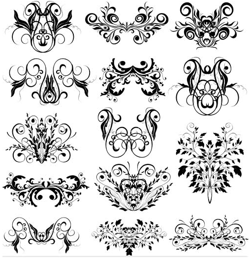 Ornamental Floral Elements 11 vector material