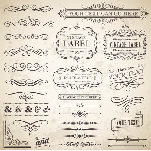 Ornamental Vintage Labels 3 vector set