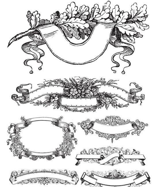 Ornaments Elements 1 set vector