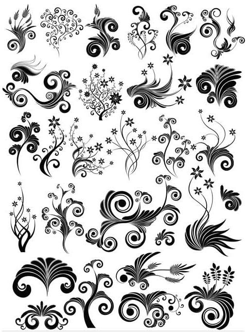 Ornate Floral Elements (Set 19) vector set