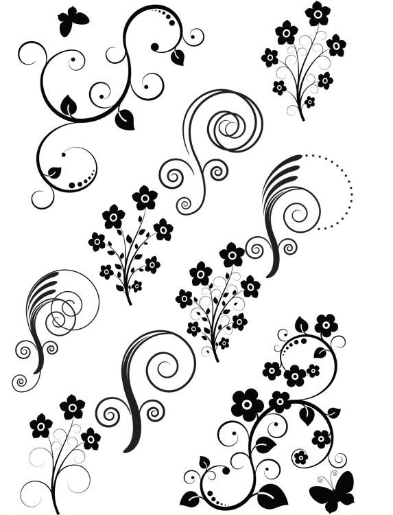 Ornate Floral Elements (Set 29) vector material