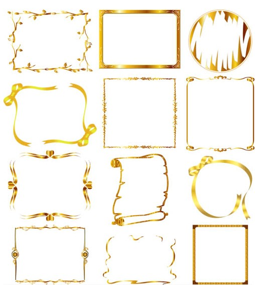 Ornate Gold Frames free vector