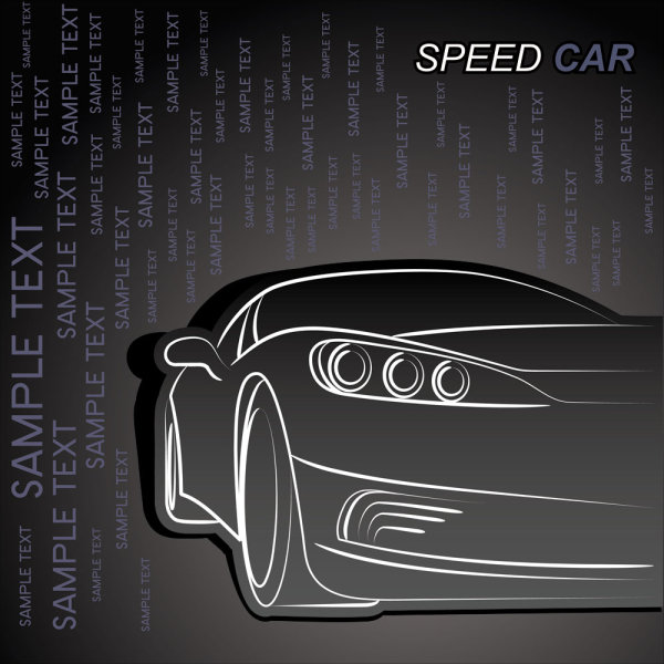 Outline car background vector