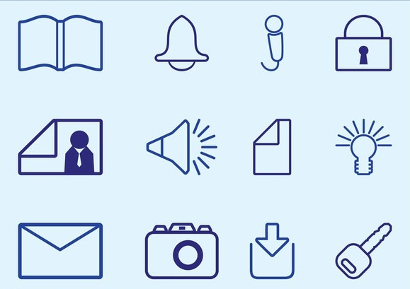 Outlined Icons free vector
