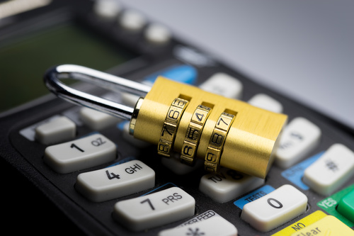 POS and password lock Stock Photo