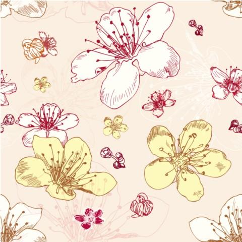 Painted flower set vector