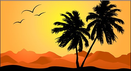 Palm tree in sunset vector