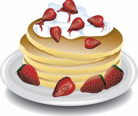 Pancake delicious food vector material 08