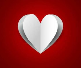 Paper heart with red valentine background vector