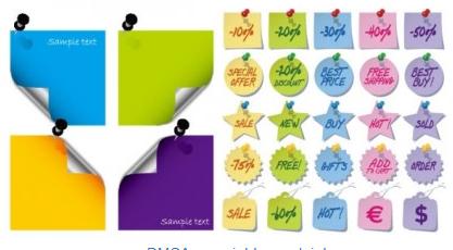 Paper notes set vector