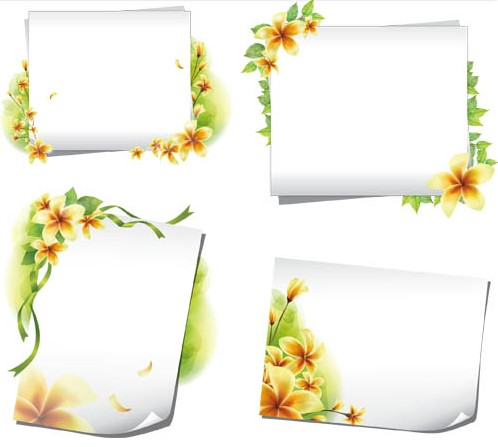 Paper with flowers vector set