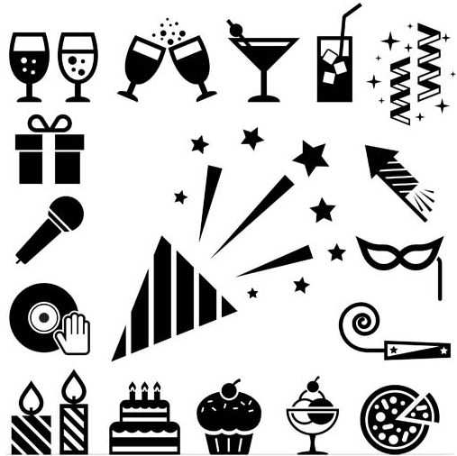 Party Icons Set shiny vector