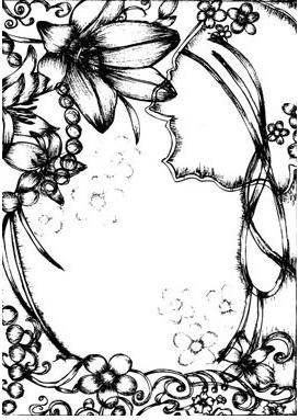 Pen drawing style flower border clip art vector