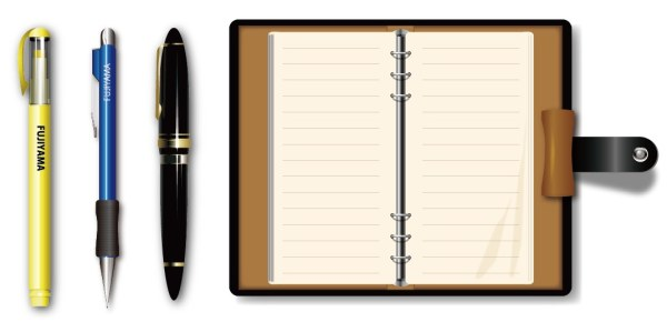 Pen with notebook design vectors