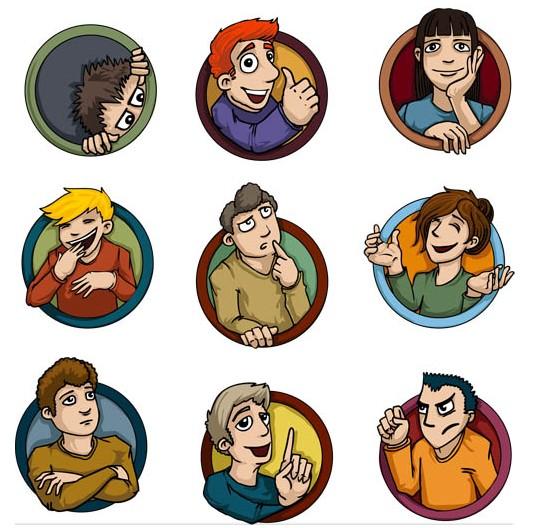 People Cartoon Symbols Art vectors material