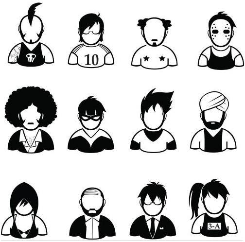 People Silhouette Avatars 4 design vector