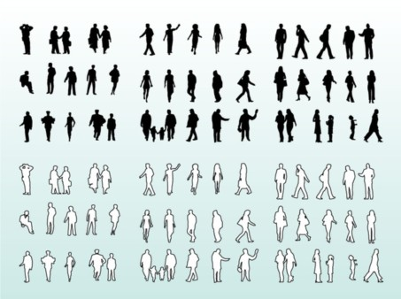 People Silhouettes and Outlines vector
