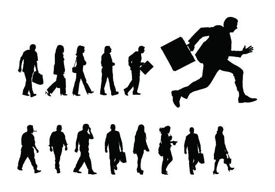 People Walking silhouette 1 set vector
