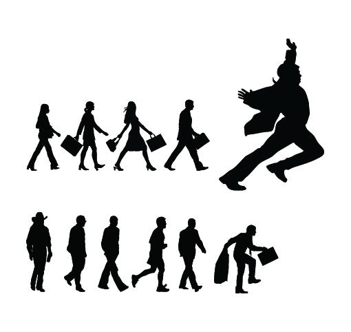 People Walking silhouette 2 set vector