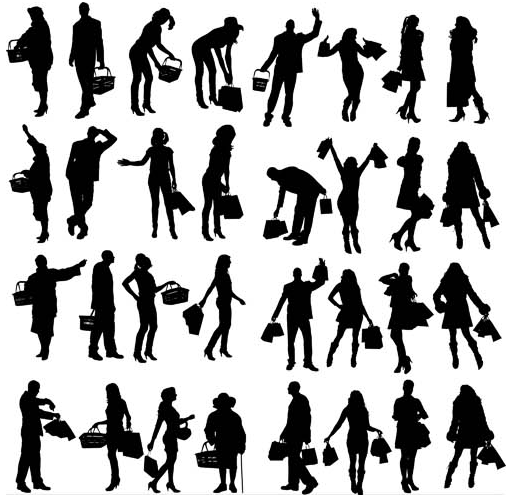People on shopping vector graphic