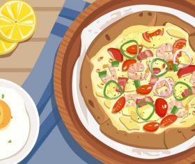 Pineapple shrimp shrimp egg gourmet illustration vector