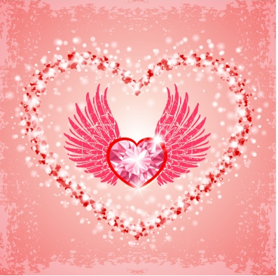 Pink diamond heart background Free vector material