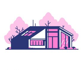 Pink house hand drawn vector