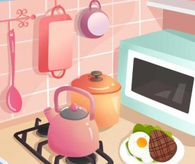 Pink kitchen kitchenware illustration breakfast steak vector